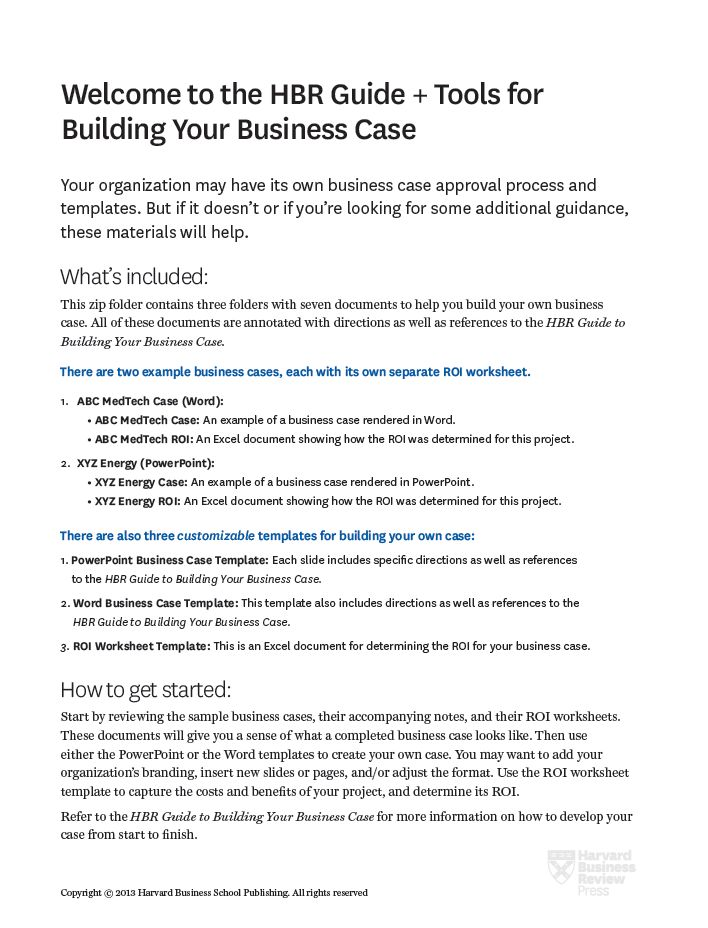 HBR Guide to Building Your Business Case Ebook + Tools – Harvard ...