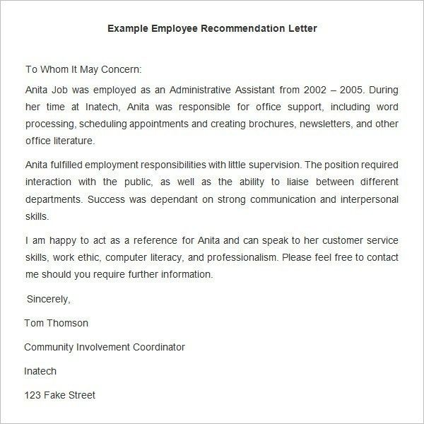 Free Recommendation Letter Sample For Employment | The Letter Sample