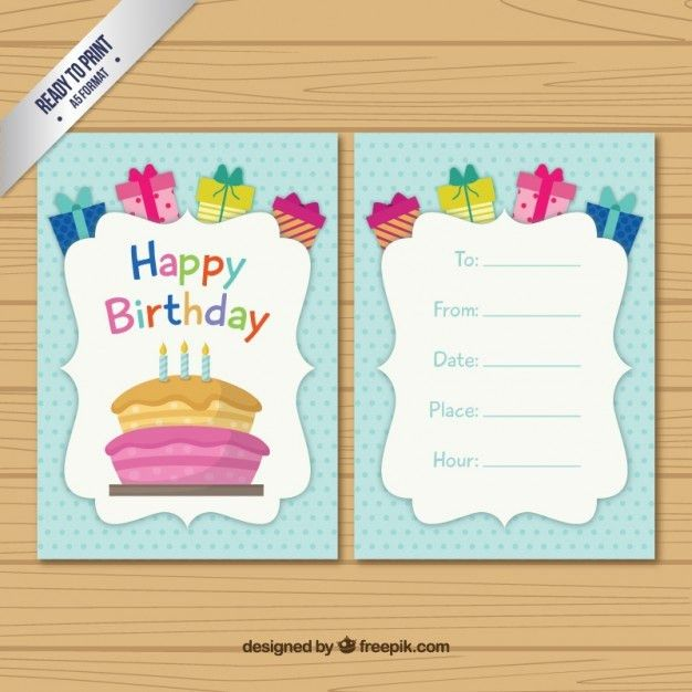 Colored birthday card template Vector | Free Download