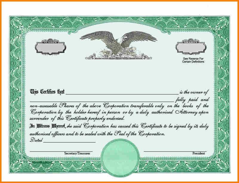 Blank Share Certificates | Samples.csat.co