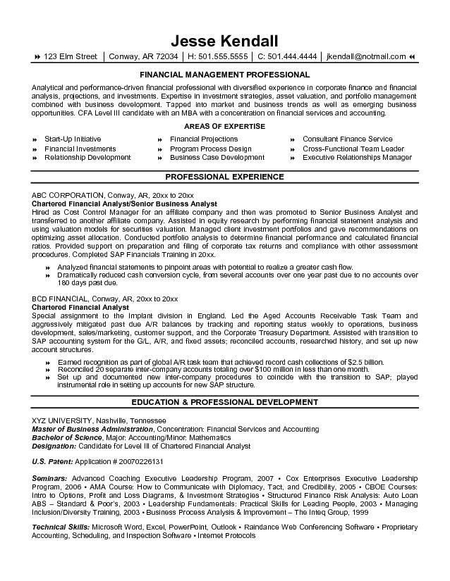 Sample Resume Of Financial Analyst | ilivearticles.info