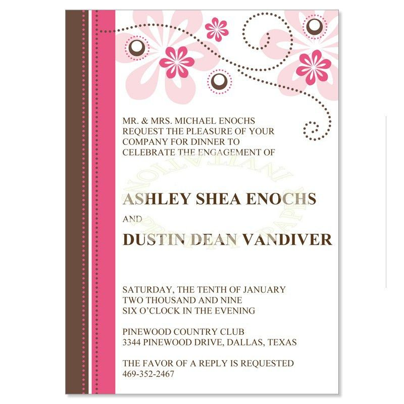 Pink & Brown Engagement Party Invitation Templates - Crystal ...