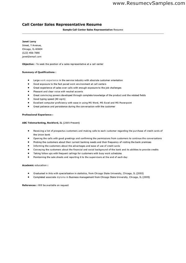sample resume for call center sales resume ixiplay free resume ...