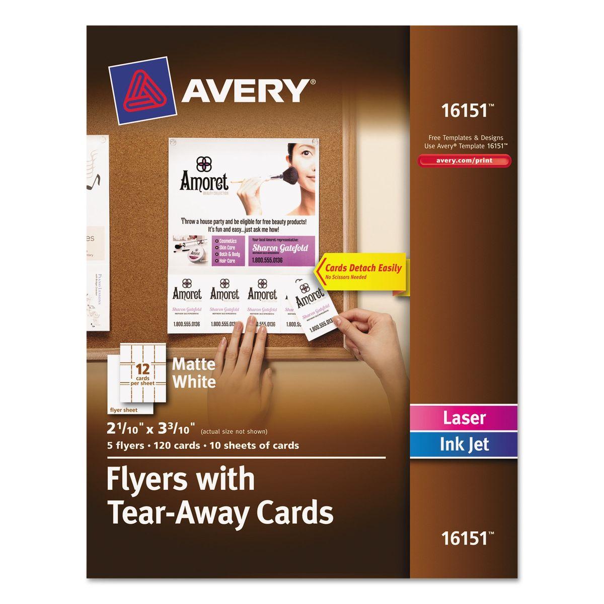 Avery Flyers w/Tear-Away Cards, 8 1/2 x 11, White, 5 Flyers/120 ...