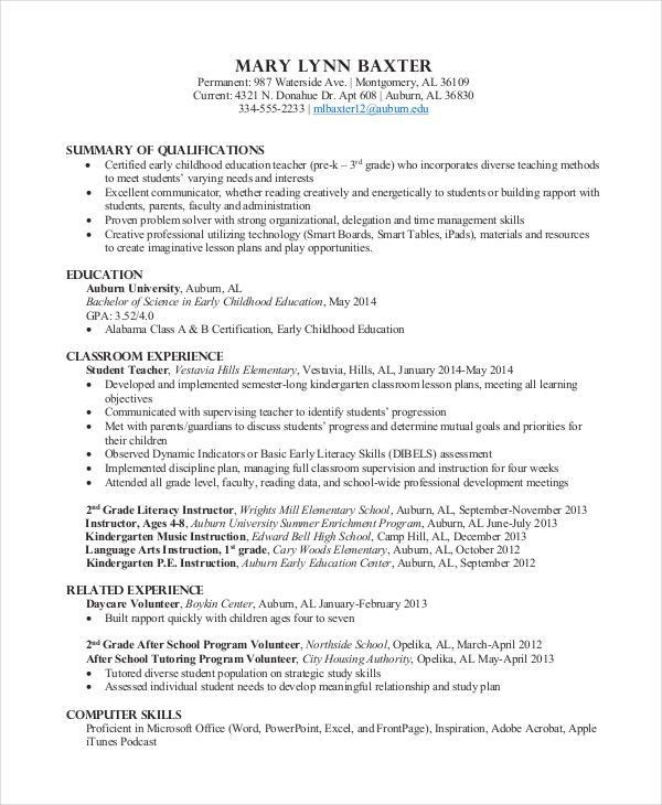 Preschool Teacher Resume. Teacher Resume Template 2017 ...