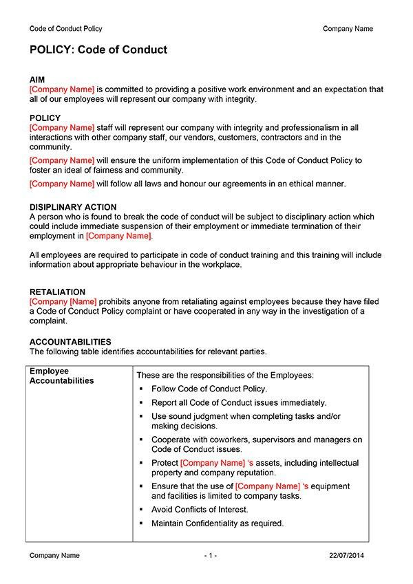 Code of Conduct Policy Template | Digital Documents Direct