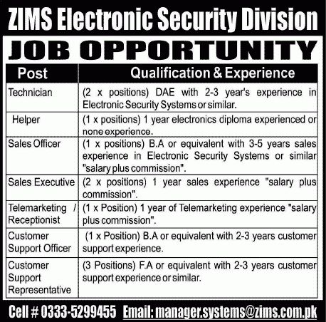 ZIMS Electronics Security Division Jobs 2014 March for Technician ...