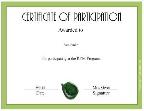 Free Certificate of Participation | Customize Online & Print