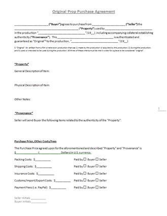 """Original Prop Purchase Agreement"""" Template"""