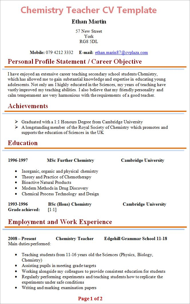 Chemistry Teacher CV Template + Tips and Download – CV Plaza