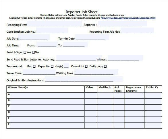 Job Sheet Templates, job sheet example. 105 best resume example ...