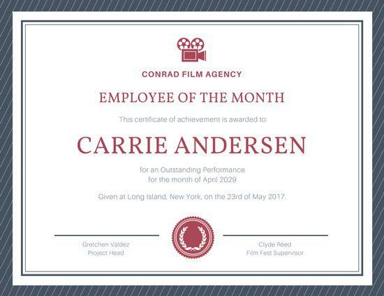 Blue and Red Bordered Employee of The Month Certificate ...