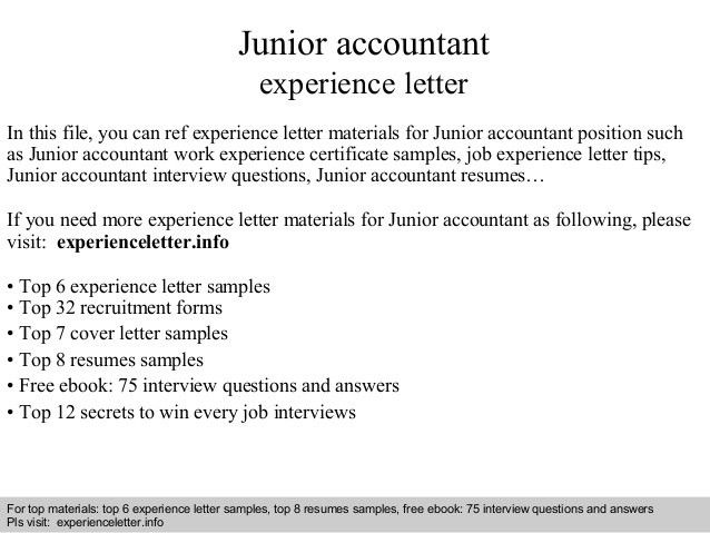 Experience letter for job job experience letter format 1 junior accountant experience letter 1 638gcb yadclub Gallery
