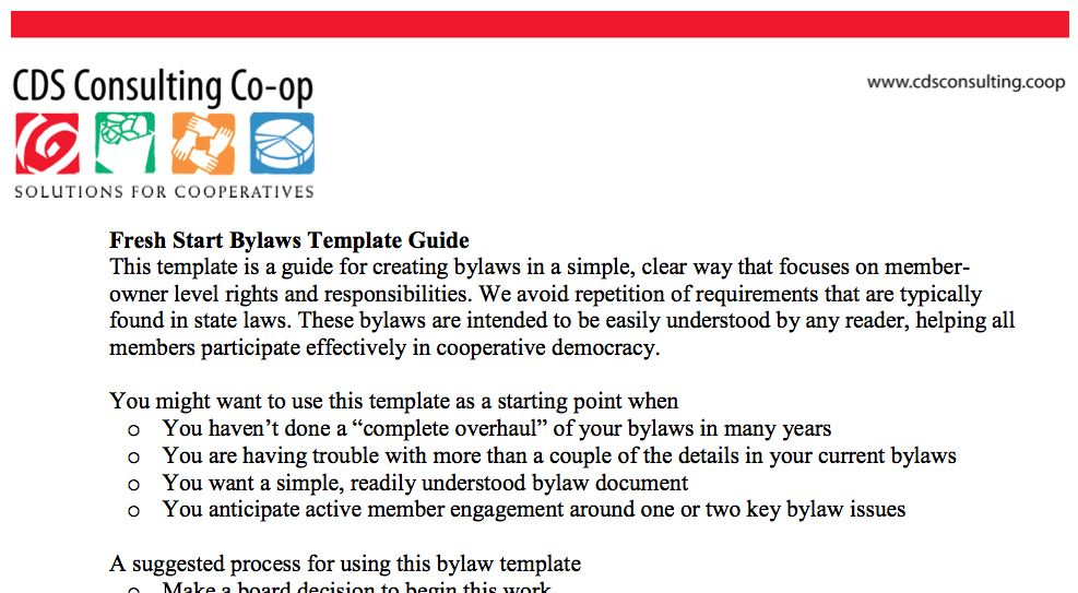 Fresh Start' Bylaws Template – CDS CC Library