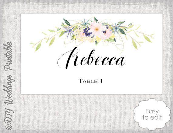 Place card template Flower garland /Wreath Eden