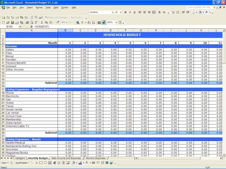 Excel Template For Monthly Bills | Spreadsheets