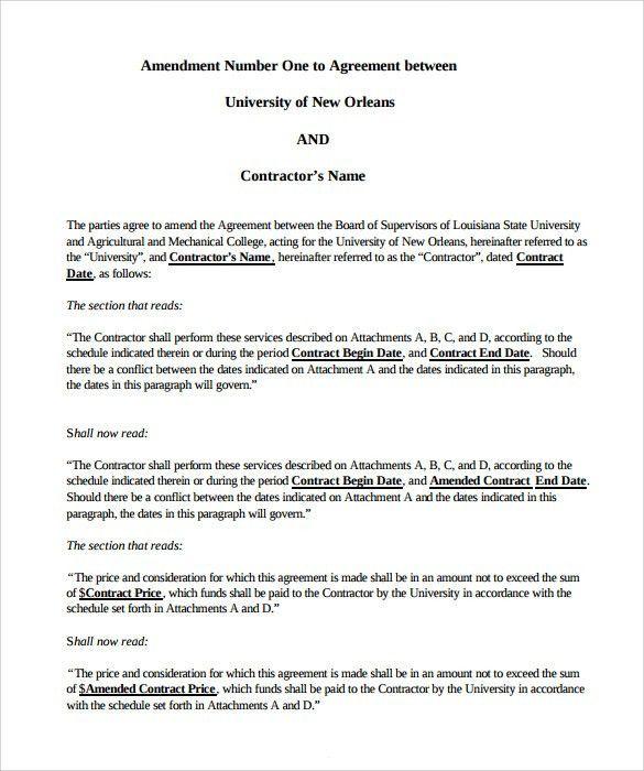 Sample Contract Amendment Template. Sponsorship Agreement ...