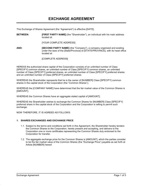 Exchange of Shares Agreement Long Form - Template & Sample Form ...