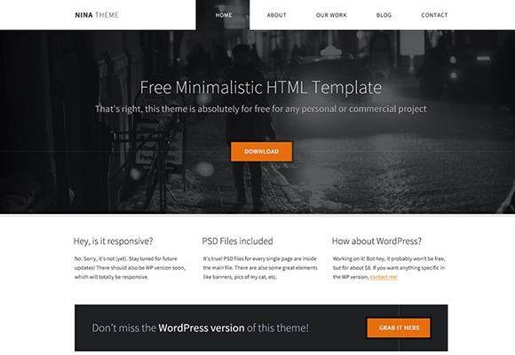 Nina - Free HTML minimal template - Freebiesbug