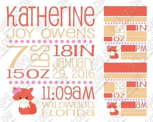 Baby Girl Fox Birth Announcement Template SVG Cut File Set