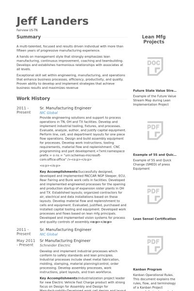 Manufacturing Engineer Resume samples - VisualCV resume samples ...