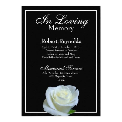 Personalized Remembrance service Invitations | CustomInvitations4U.com