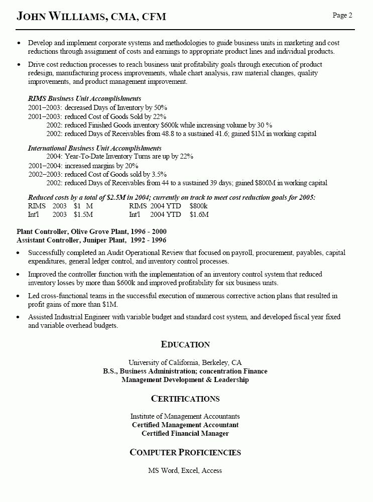 Simple Resume Sample for Assistant Controller Job Application ...