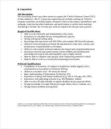 Copywriter Job Description - 9+ Free PDF Documents Download | Free ...