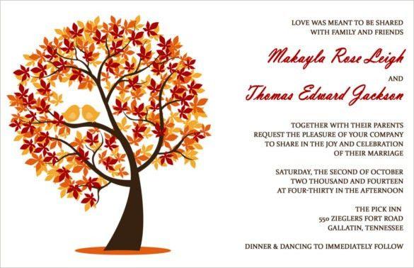 24+ Fall Wedding Invitation Templates – Free Sample, Example ...