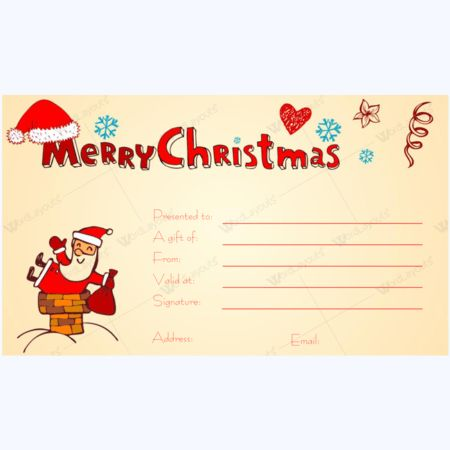 Perfect Christmas Day Gift Card Template - Word Layouts