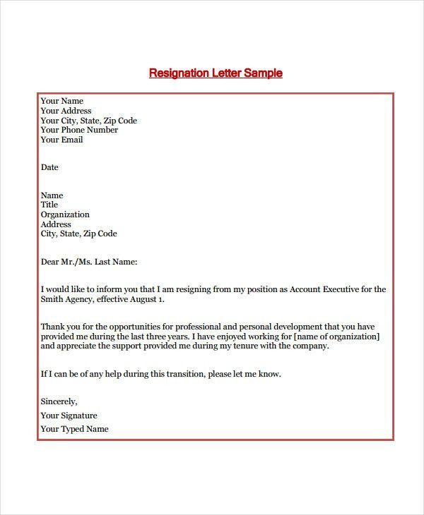 8+ Standard Resignation Letter Templates - Free Word, PDF Format ...