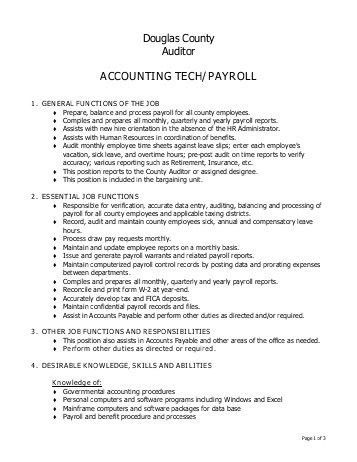 Payroll Job Description. Job Performance Evaluation Payroll ...