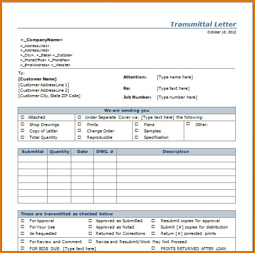 10 transmittal form template job resumes word
