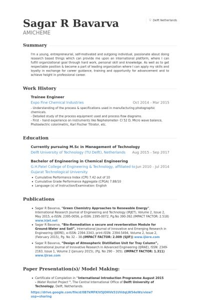 Trainee Engineer Resume samples - VisualCV resume samples database