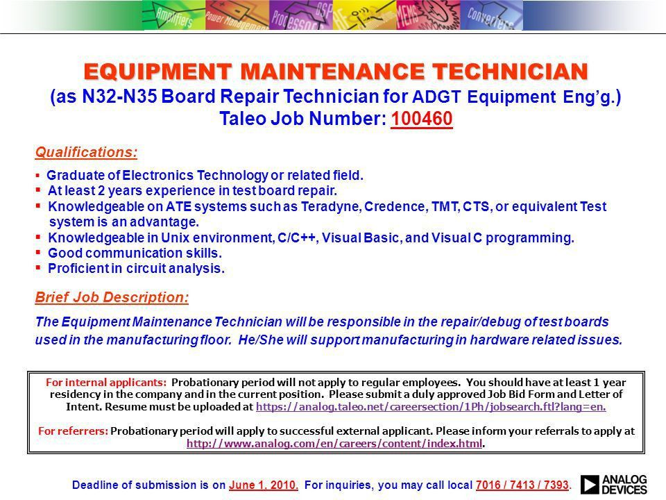 EQUIPMENT ENGINEER EQUIPMENT ENGINEER (as E05-E09 Board ...