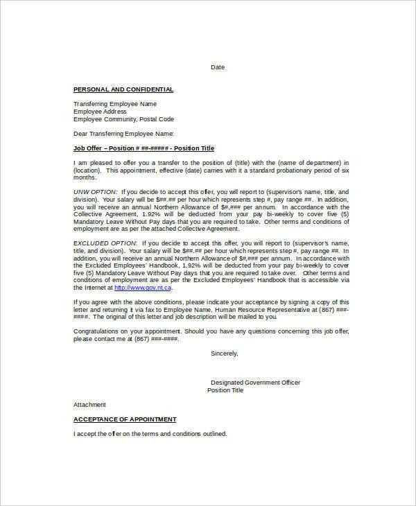 Internal Transfer Letter - 7+ Free Word, PDF Documents Download ...