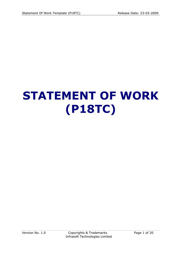Statement of Work Template - download free documents for PDF, Word ...