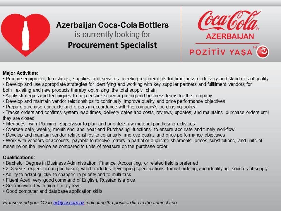 Azerbaijan Coca-Cola Bottlers is currently looking for Procurement ...
