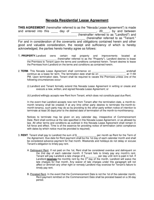 Nevada Rental Lease Agreement Templates | LegalForms.org
