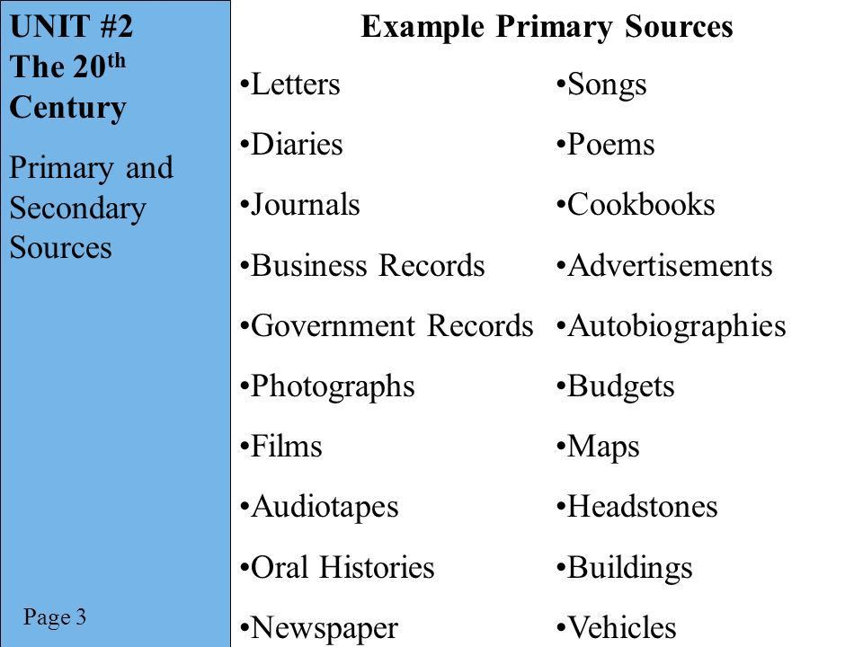 UNIT #2 The 20th Century Primary and Secondary Sources. - ppt ...