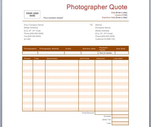 Photography Quotation Template | Free Quotation Templates