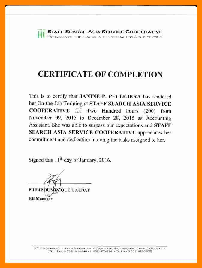 Example of certificate of completion 13 certificate of completion 9 sample ojt certificate resume sections yadclub Choice Image