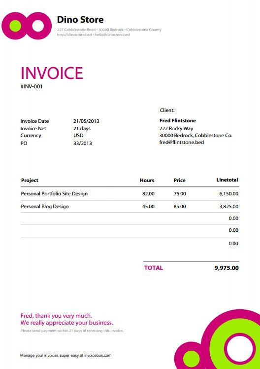 Invoice Template Pdf | free printable invoice