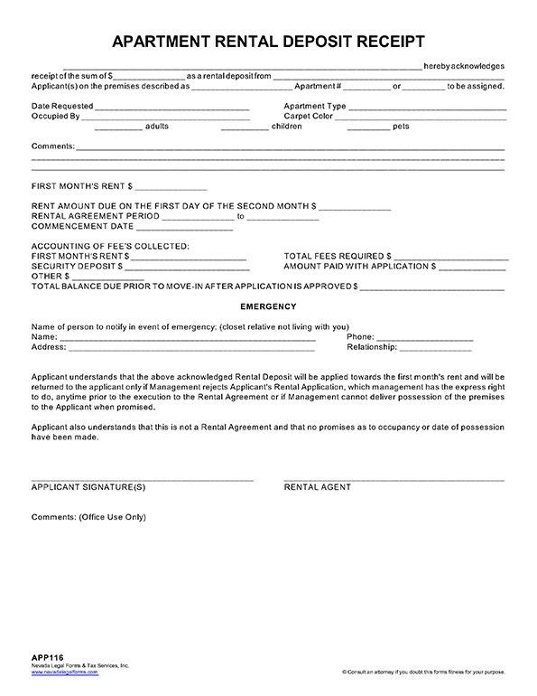 APARTMENT RENTAL DEPOSIT RECEIPT - Nevada Legal Forms & Tax ...