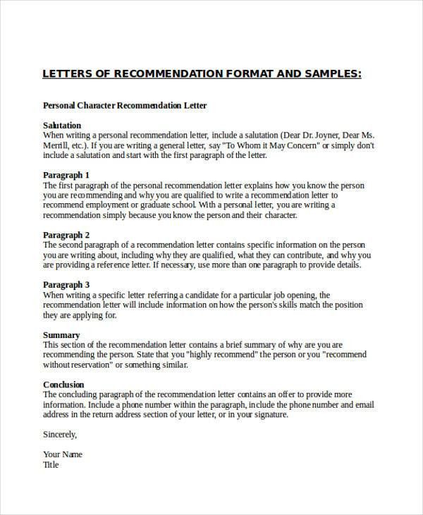 Personal Reference Letter. Personal Character Recommendation ...