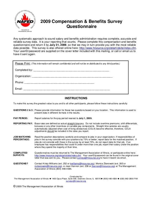 2009 nafed compensation & benefits survey questionnaire
