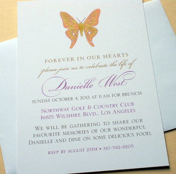 "This customized ""celebration of life"" invitation is a lovely way ..."