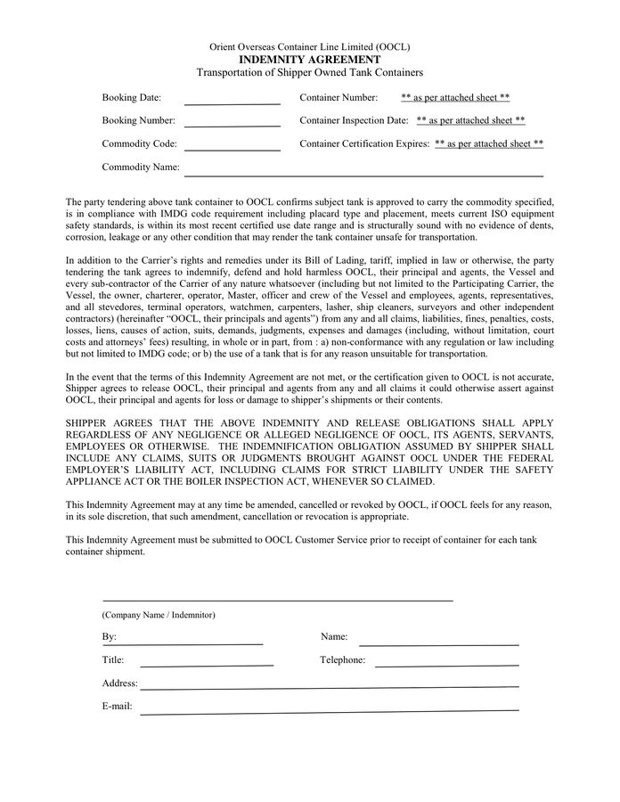 Indemnity agreement example in Word and Pdf formats