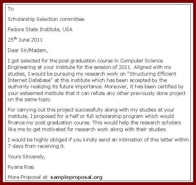 15 Cover Letter Sample For Scholarship | sendletters.info