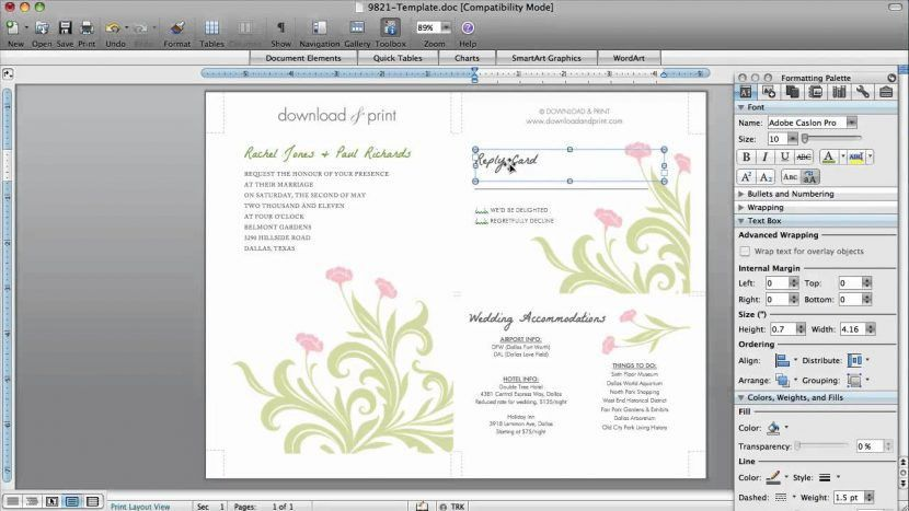 Remarkable How To Make Wedding Invitations On Microsoft Word 46 ...